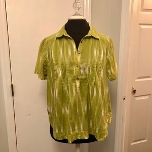 Talbots Chartreuse Printed Boho Blouse